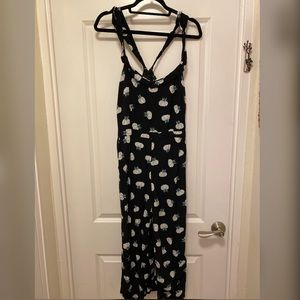 Black Jumpsuit with white flowers